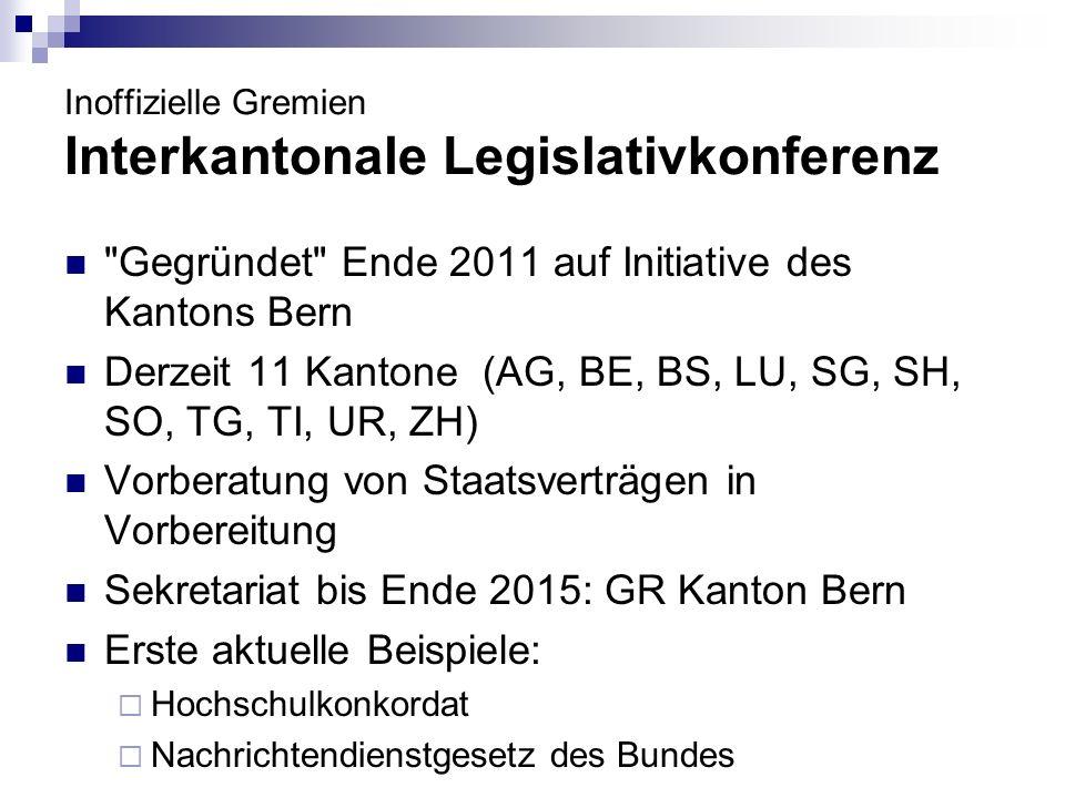 Inoffizielle Gremien Interkantonale Legislativkonferenz