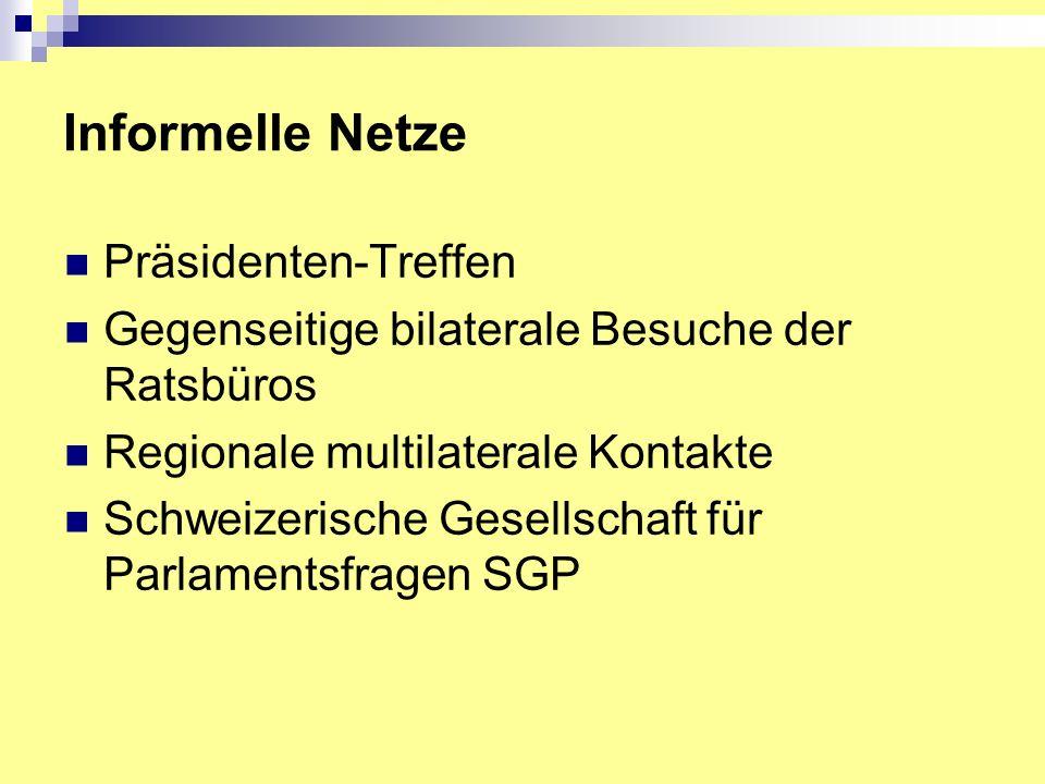 Informelle Netze Präsidenten-Treffen Gegenseitige bilaterale Besuche der Ratsbüros Regionale multilaterale Kontakte Schweizerische Gesellschaft für Parlamentsfragen SGP