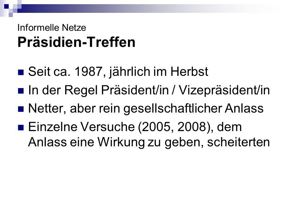 Informelle Netze Präsidien-Treffen Seit ca. 1987, jährlich im Herbst In der Regel Präsident/in / Vizepräsident/in Netter, aber rein gesellschaftlicher