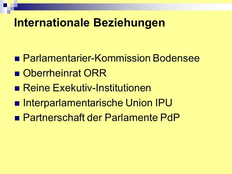 Internationale Beziehungen Parlamentarier-Kommission Bodensee Oberrheinrat ORR Reine Exekutiv-Institutionen Interparlamentarische Union IPU Partnerschaft der Parlamente PdP