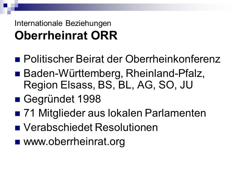 Politischer Beirat der Oberrheinkonferenz Baden-Württemberg, Rheinland-Pfalz, Region Elsass, BS, BL, AG, SO, JU Gegründet 1998 71 Mitglieder aus lokalen Parlamenten Verabschiedet Resolutionen www.oberrheinrat.org
