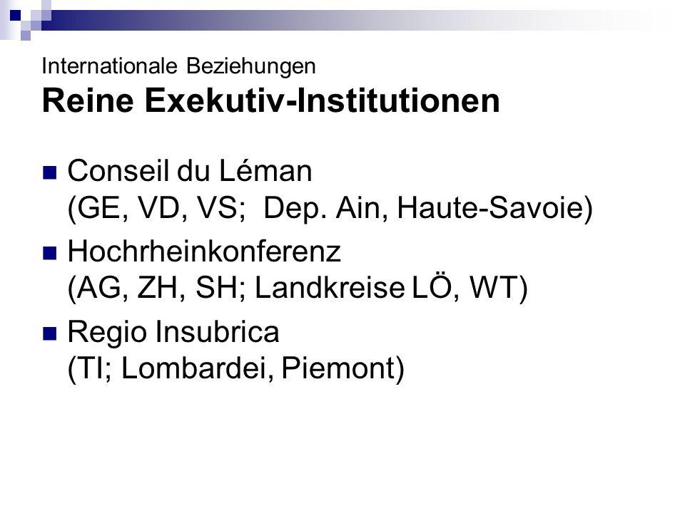 Internationale Beziehungen Reine Exekutiv-Institutionen Conseil du Léman (GE, VD, VS; Dep. Ain, Haute-Savoie) Hochrheinkonferenz (AG, ZH, SH; Landkrei