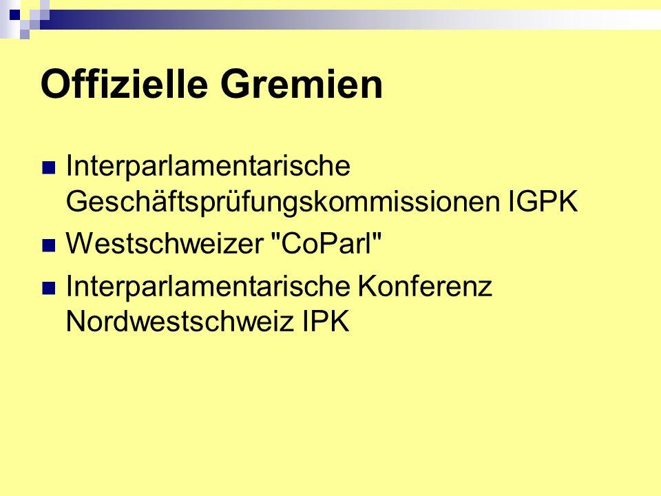 Offizielle Gremien Interparlamentarische Geschäftsprüfungskommissionen IGPK Westschweizer