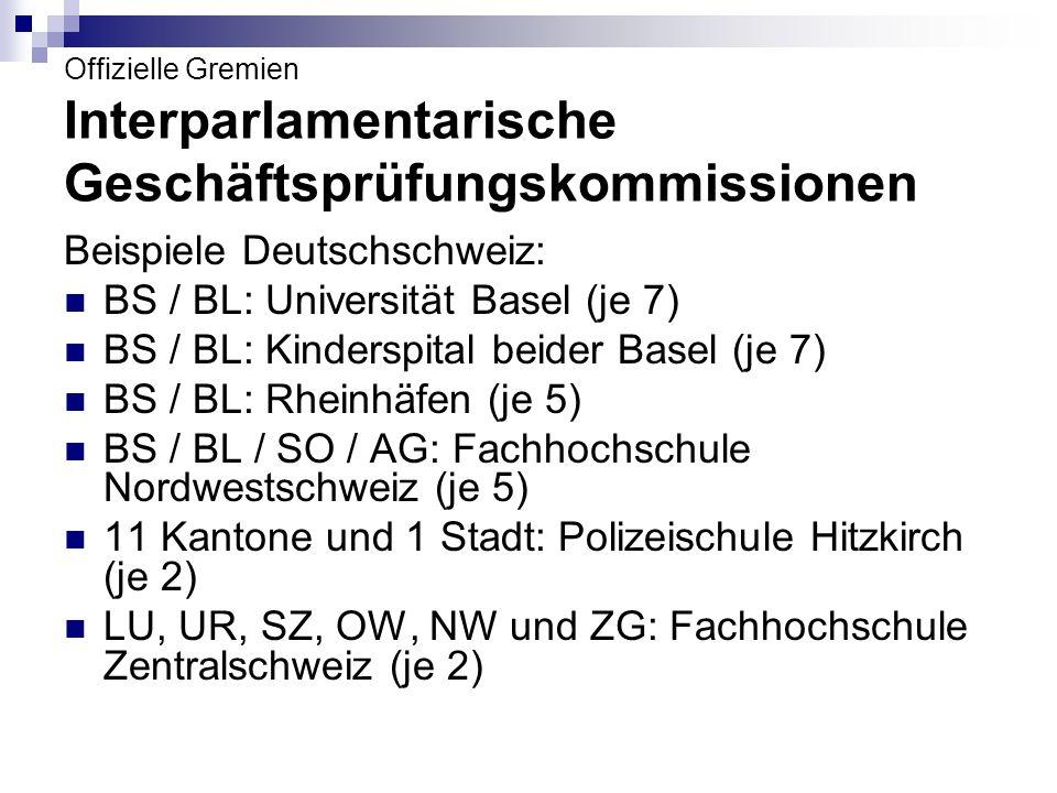 Offizielle Gremien Interparlamentarische Geschäftsprüfungskommissionen Beispiele Deutschschweiz: BS / BL: Universität Basel (je 7) BS / BL: Kinderspit