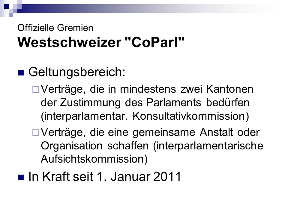Offizielle Gremien Westschweizer