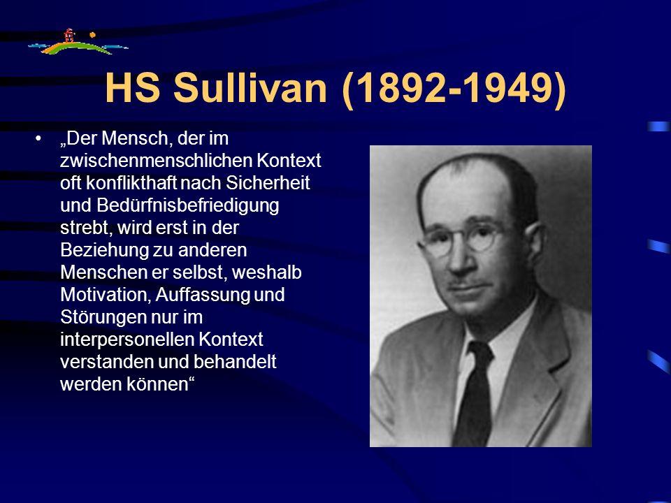 HS Sullivan (1892-1949) Der Mensch, der im zwischenmenschlichen Kontext oft konflikthaft nach Sicherheit und Bedürfnisbefriedigung strebt, wird erst in der Beziehung zu anderen Menschen er selbst, weshalb Motivation, Auffassung und Störungen nur im interpersonellen Kontext verstanden und behandelt werden können