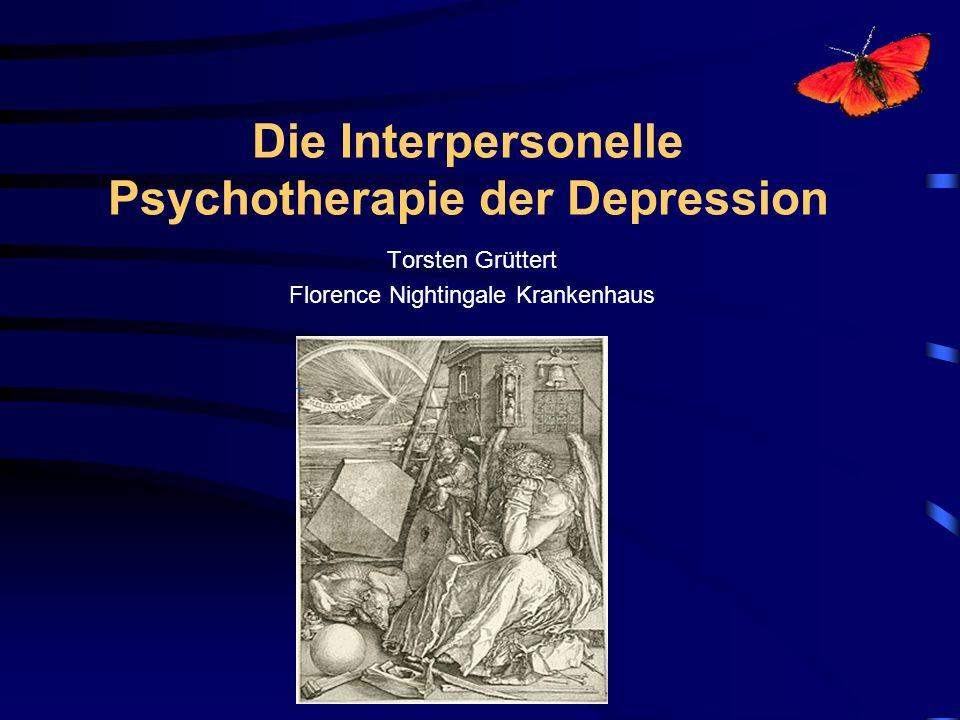 Die Geschichte der interpersonellen Psychotherapie begann 1970 an der Yale Universität Klerman and Weissman High contact Analytischer Hintergrund Überprüfung eines medikamentösen Regimes (Imipramin für 4 Monate) Kombinationsbehandlung oder Monotherapie IPT Manual 1984