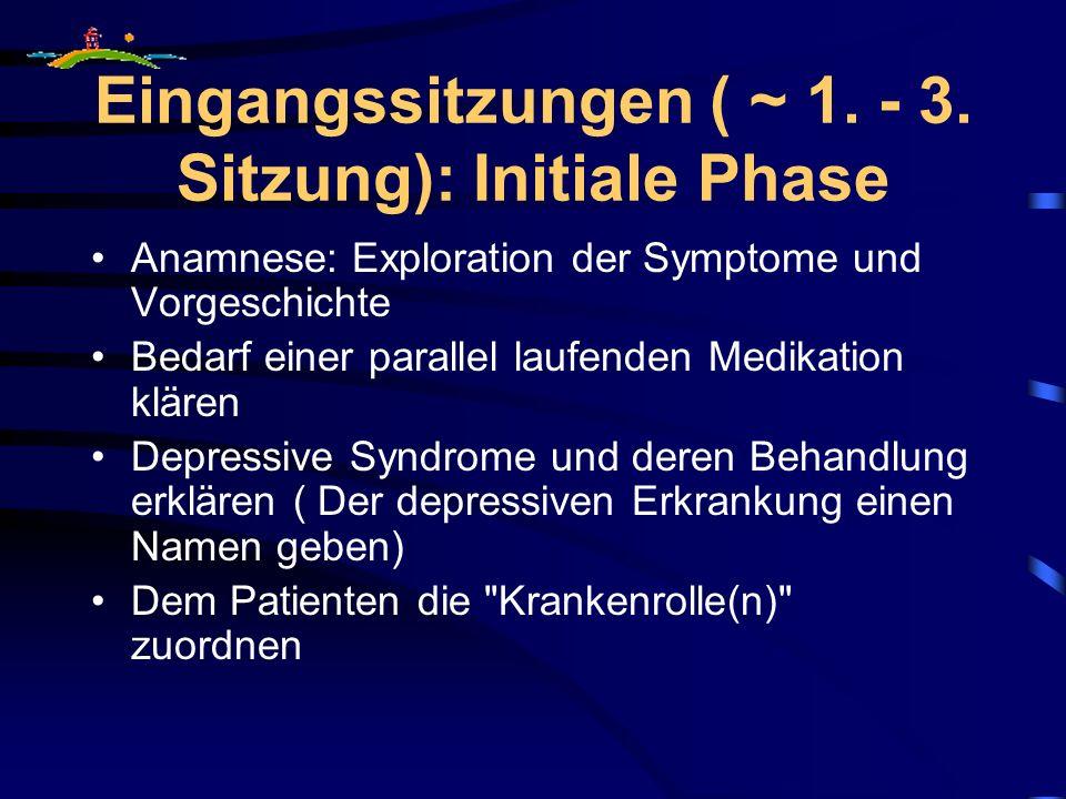 Eingangssitzungen ( ~ 1. - 3. Sitzung): Initiale Phase Anamnese: Exploration der Symptome und Vorgeschichte Bedarf einer parallel laufenden Medikation