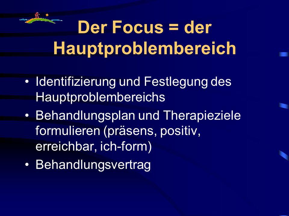 Der Focus = der Hauptproblembereich Identifizierung und Festlegung des Hauptproblembereichs Behandlungsplan und Therapieziele formulieren (präsens, positiv, erreichbar, ich-form) Behandlungsvertrag