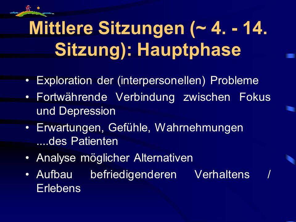 Mittlere Sitzungen (~ 4. - 14. Sitzung): Hauptphase Exploration der (interpersonellen) Probleme Fortwährende Verbindung zwischen Fokus und Depression