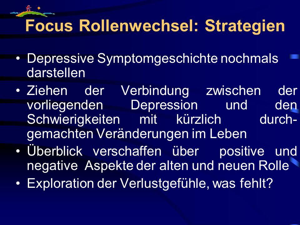 Focus Rollenwechsel: Strategien Depressive Symptomgeschichte nochmals darstellen Ziehen der Verbindung zwischen der vorliegenden Depression und den Sc