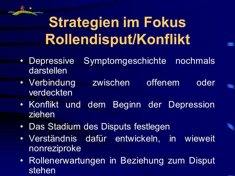 Strategien im Fokus Rollendisput/Konflikt Depressive Symptomgeschichte nochmals darstellen Verbindung zwischen offenem oder verdeckten Konflikt und de