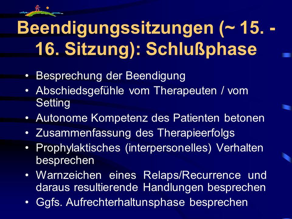 Beendigungssitzungen (~ 15. - 16. Sitzung): Schlußphase Besprechung der Beendigung Abschiedsgefühle vom Therapeuten / vom Setting Autonome Kompetenz d