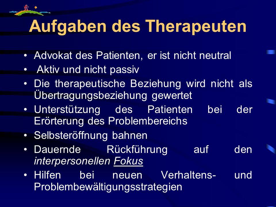 Aufgaben des Therapeuten Advokat des Patienten, er ist nicht neutral Aktiv und nicht passiv Die therapeutische Beziehung wird nicht als Übertragungsbe