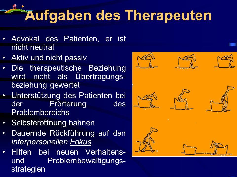 Aufgaben des Therapeuten Advokat des Patienten, er ist nicht neutral Aktiv und nicht passiv Die therapeutische Beziehung wird nicht als Übertragungs-