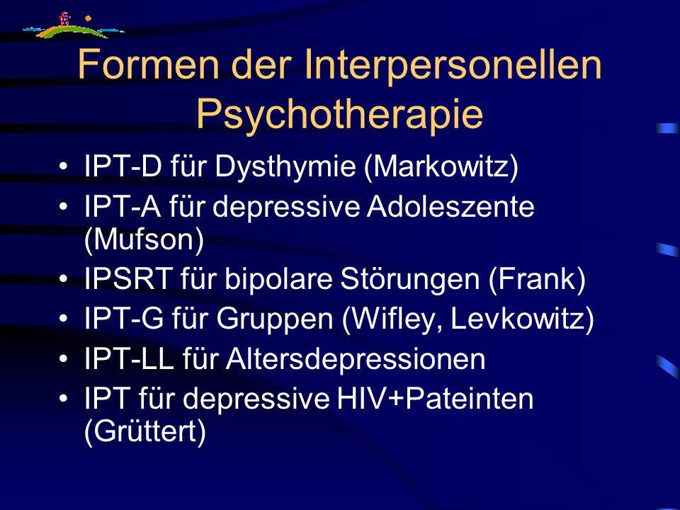 Formen der Interpersonellen Psychotherapie IPT-D für Dysthymie (Markowitz) IPT-A für depressive Adoleszente (Mufson) IPSRT für bipolare Störungen (Fra