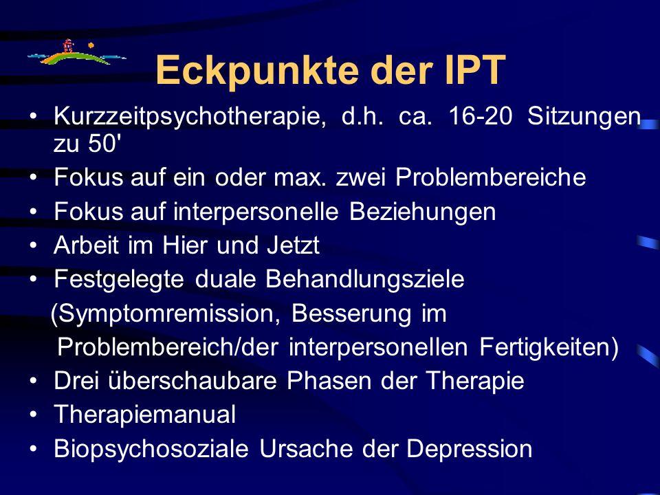 Eckpunkte der IPT Kurzzeitpsychotherapie, d.h. ca. 16-20 Sitzungen zu 50' Fokus auf ein oder max. zwei Problembereiche Fokus auf interpersonelle Bezie
