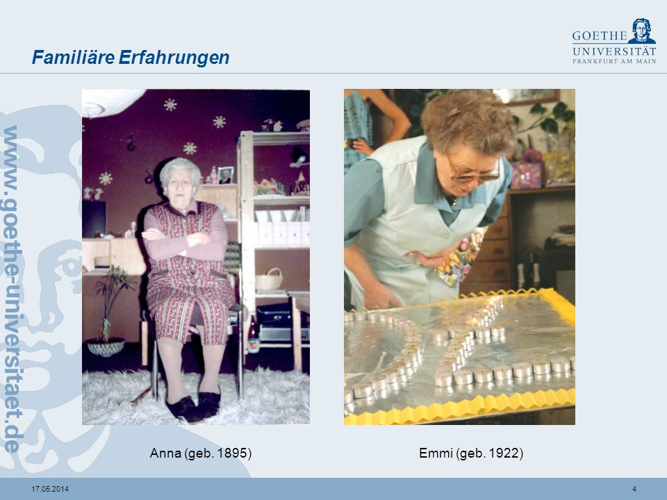 417.05.2014 Familiäre Erfahrungen Anna (geb. 1895)Emmi (geb. 1922)
