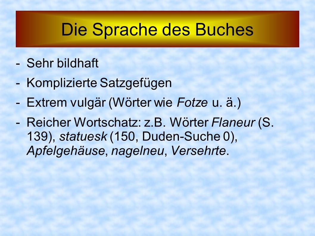 Die Sprache des Buches -Sehr bildhaft -Komplizierte Satzgefügen -Extrem vulgär (Wörter wie Fotze u. ä.) -Reicher Wortschatz: z.B. Wörter Flaneur (S. 1