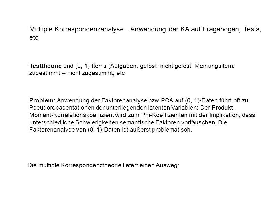 Multiple Korrespondenzanalyse: Anwendung der KA auf Fragebögen, Tests, etc Testtheorie und (0, 1)-Items (Aufgaben: gelöst- nicht gelöst, Meinungsitem: