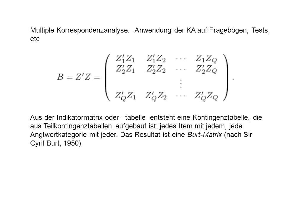 Multiple Korrespondenzanalyse: Anwendung der KA auf Fragebögen, Tests, etc Aus der Indikatormatrix oder –tabelle entsteht eine Kontingenztabelle, die