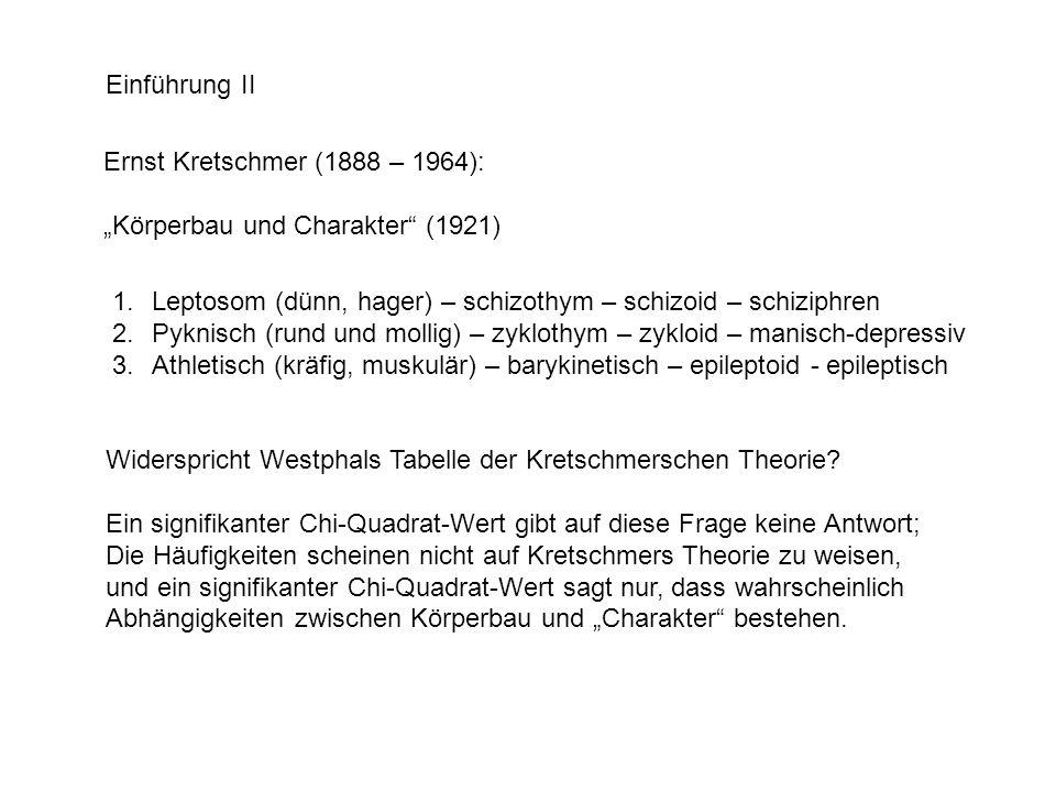 Einführung II Ernst Kretschmer (1888 – 1964): Körperbau und Charakter (1921) 1.Leptosom (dünn, hager) – schizothym – schizoid – schiziphren 2.Pyknisch