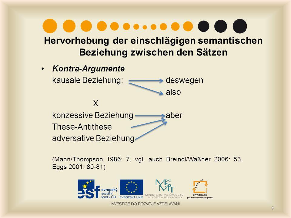 Kontra-Argumente kausale Beziehung: deswegen also X konzessive Beziehungaber These-Antithese adversative Beziehung (Mann/Thompson 1986: 7, vgl. auch B