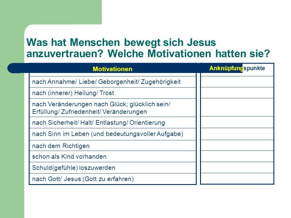 Was hat Menschen bewegt sich Jesus anzuvertrauen? Welche Motivationen hatten sie? Motivationen nach Annahme/ Liebe/ Geborgenheit/ Zugehörigkeit nach (