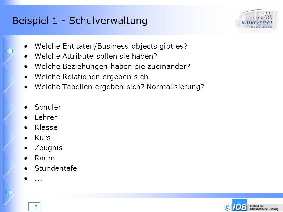 © 8 Beispiel 2 – Referenzkunden Software Welche Entitäten/Business objects gibt es.