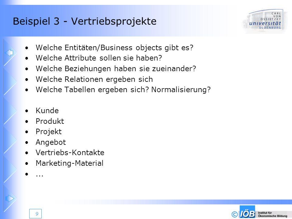 © 10 Beispiel 4 - Musikdatenbank Welche Entitäten/Business objects gibt es.