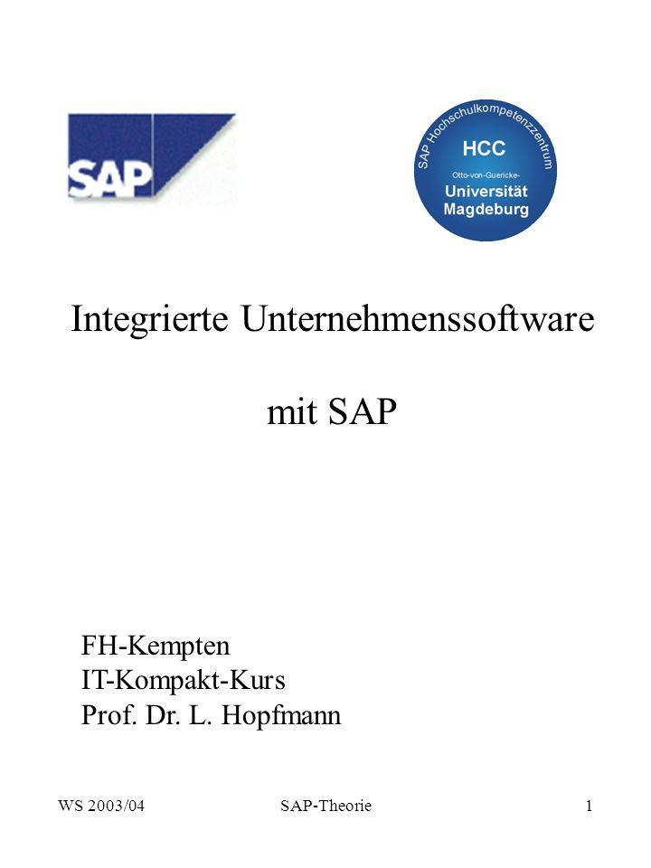 WS 2003/04SAP-Theorie1 Integrierte Unternehmenssoftware mit SAP FH-Kempten IT-Kompakt-Kurs Prof.