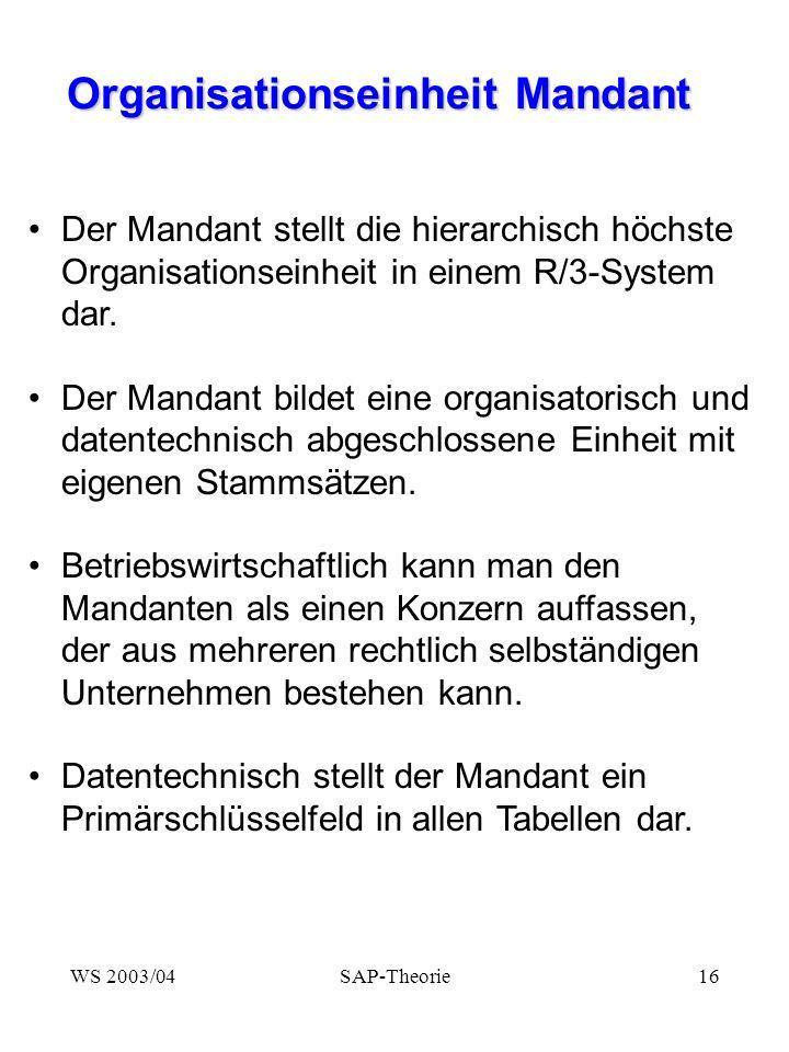 WS 2003/04SAP-Theorie16 Organisationseinheit Mandant Organisationseinheit Mandant Der Mandant stellt die hierarchisch höchste Organisationseinheit in einem R/3-System dar.