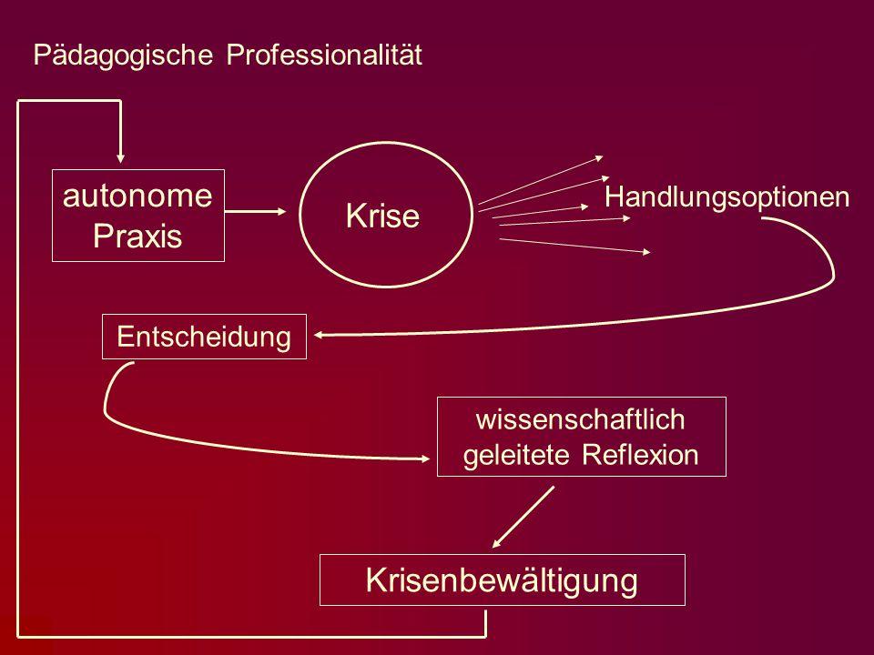 Krisenbewältigung Krise Handlungsoptionen autonome Praxis Entscheidung wissenschaftlich geleitete Reflexion Pädagogische Professionalität