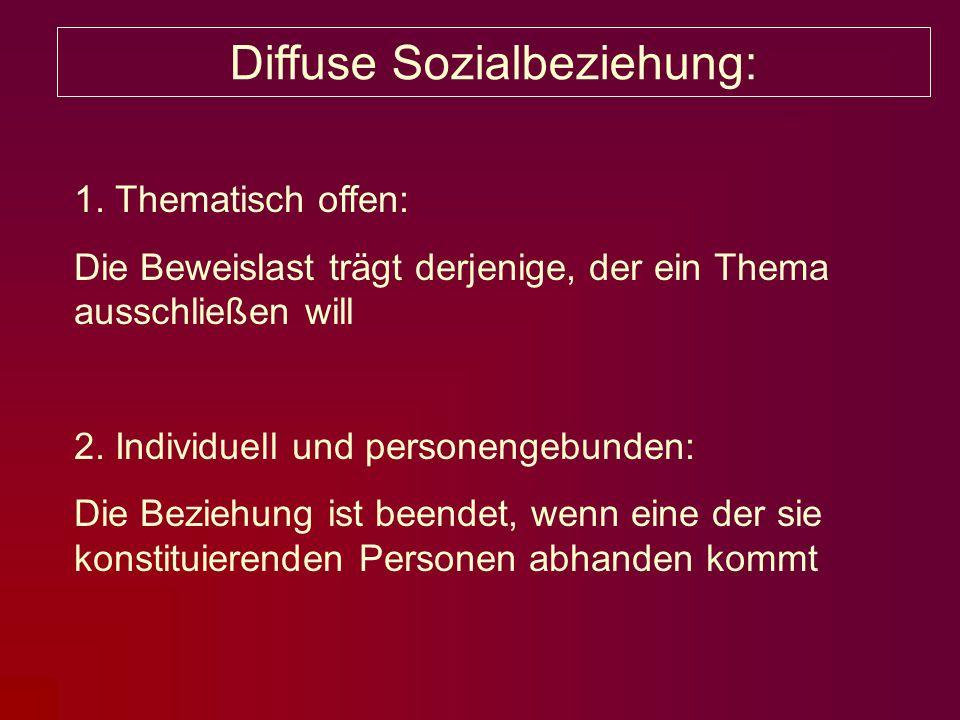 Diffuse Sozialbeziehung: 1. Thematisch offen: Die Beweislast trägt derjenige, der ein Thema ausschließen will 2. Individuell und personengebunden: Die