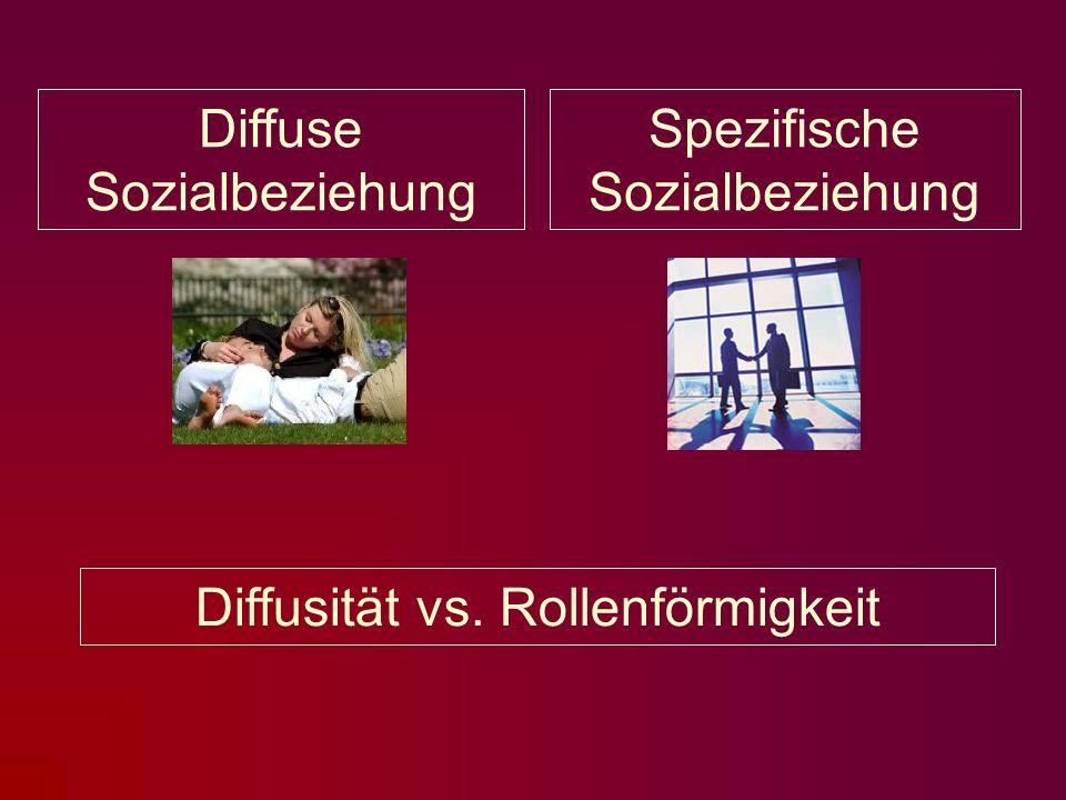 Diffuse Sozialbeziehung Spezifische Sozialbeziehung Diffusität vs. Rollenförmigkeit