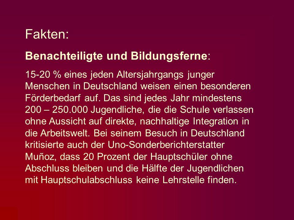 Fakten: Benachteiligte und Bildungsferne: 15-20 % eines jeden Altersjahrgangs junger Menschen in Deutschland weisen einen besonderen Förderbedarf auf.