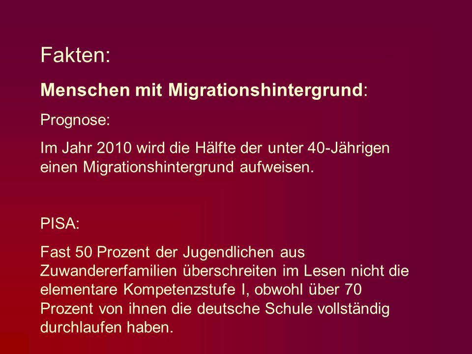 Fakten: Menschen mit Migrationshintergrund: Prognose: Im Jahr 2010 wird die Hälfte der unter 40-Jährigen einen Migrationshintergrund aufweisen. PISA: