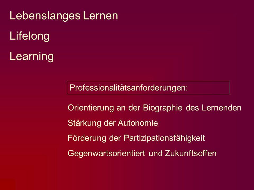 Lebenslanges Lernen Lifelong Learning Orientierung an der Biographie des Lernenden Stärkung der Autonomie Förderung der Partizipationsfähigkeit Gegenw