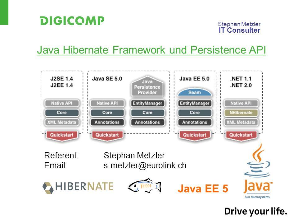 Stephan Metzler IT Consulter Java Hibernate Framework und Persistence API Referent:Stephan Metzler Email:s.metzler@eurolink.ch Java EE 5