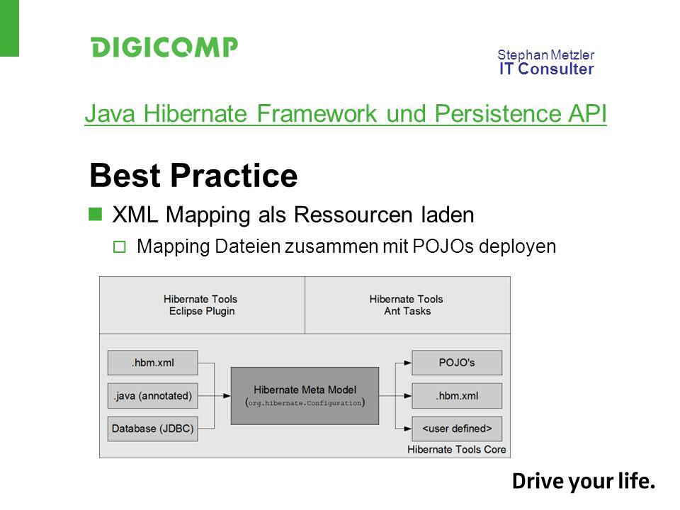 Stephan Metzler IT Consulter Java Hibernate Framework und Persistence API Best Practice XML Mapping als Ressourcen laden Mapping Dateien zusammen mit POJOs deployen