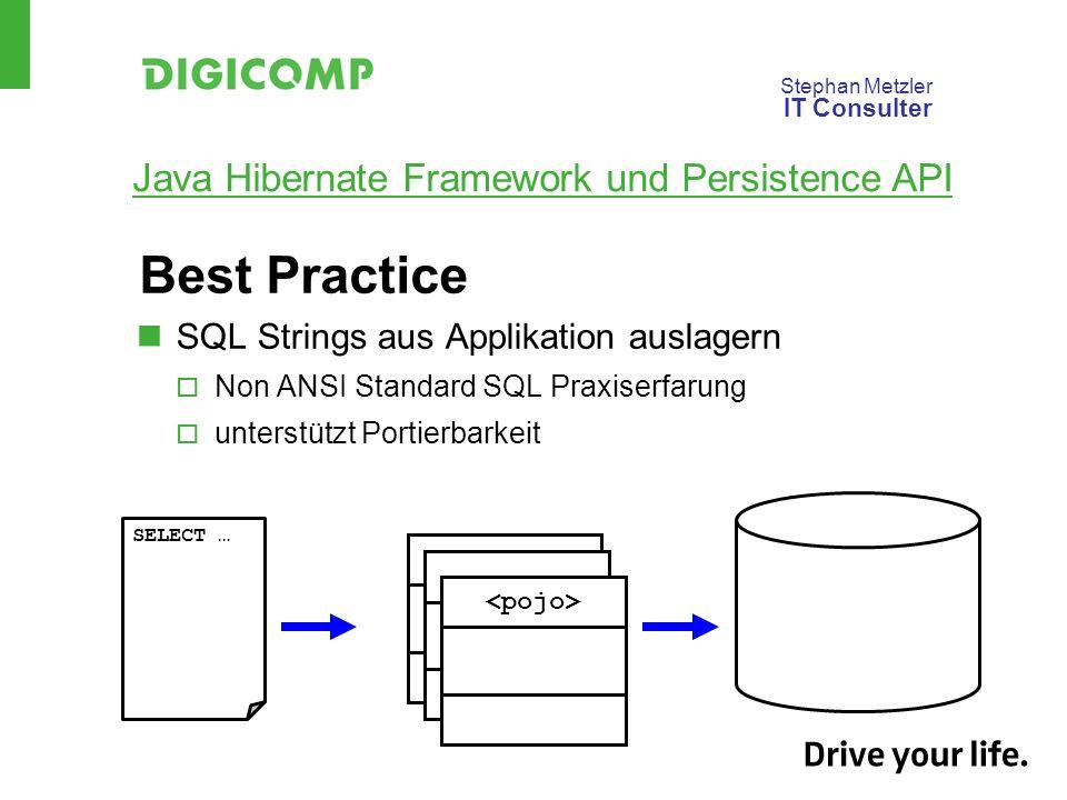 Stephan Metzler IT Consulter Java Hibernate Framework und Persistence API Best Practice SQL Strings aus Applikation auslagern Non ANSI Standard SQL Praxiserfarung unterstützt Portierbarkeit SELECT …