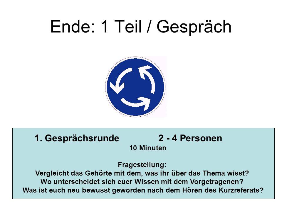 Ende: 1 Teil / Gespräch 1. Gesprächsrunde 2 - 4 Personen 10 Minuten Fragestellung: Vergleicht das Gehörte mit dem, was ihr über das Thema wisst? Wo un