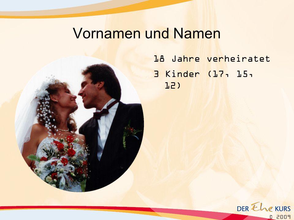 © 2009 Vornamen und Namen 18 Jahre verheiratet 3 Kinder (17, 15, 12)