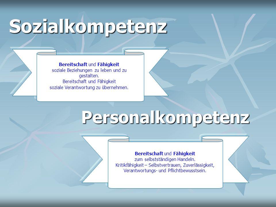 Instrumentelle Kompetenz Bündelung von Methodenkompetenz, kommunikativer Kompetenz und Lernkompetenz als Grundlagen zur Entwicklung von Fach-, Personal- und Sozialkompetenz.
