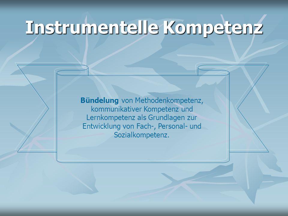 Instrumentelle Kompetenz Bündelung von Methodenkompetenz, kommunikativer Kompetenz und Lernkompetenz als Grundlagen zur Entwicklung von Fach-, Persona