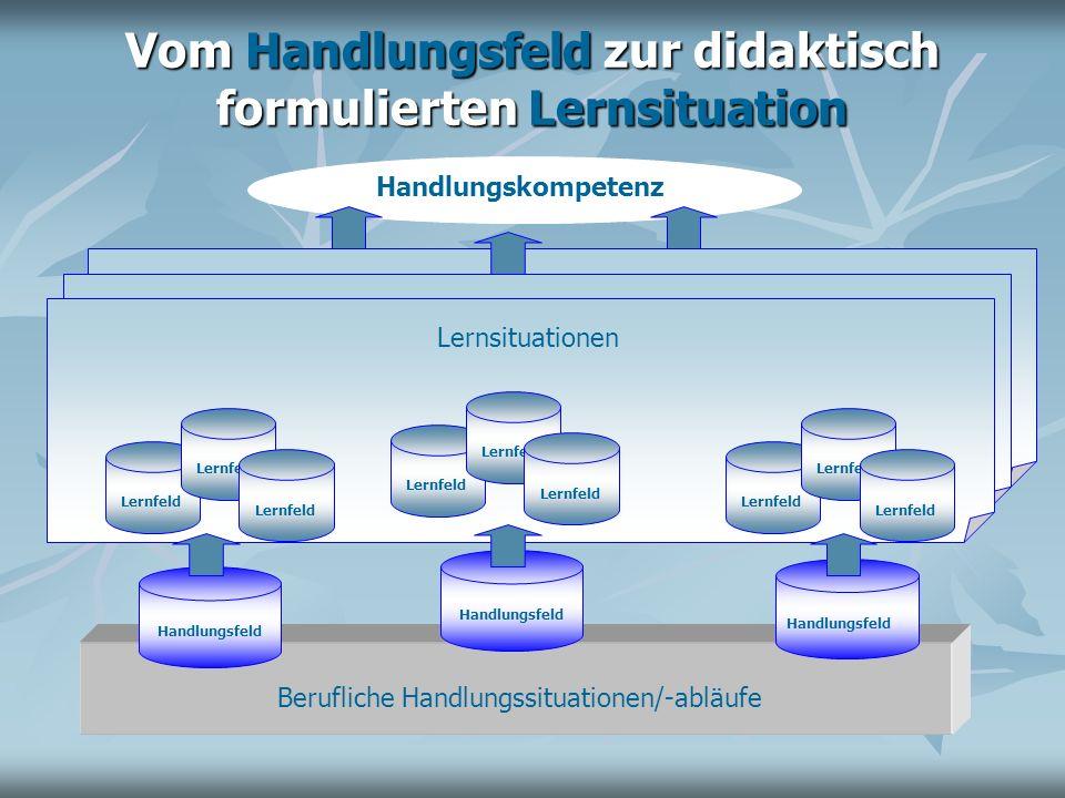Lernsituationen Vom Handlungsfeld zur didaktisch formulierten Lernsituation Handlungsfeld Berufliche Handlungssituationen/-abläufe Handlungsfeld Handl