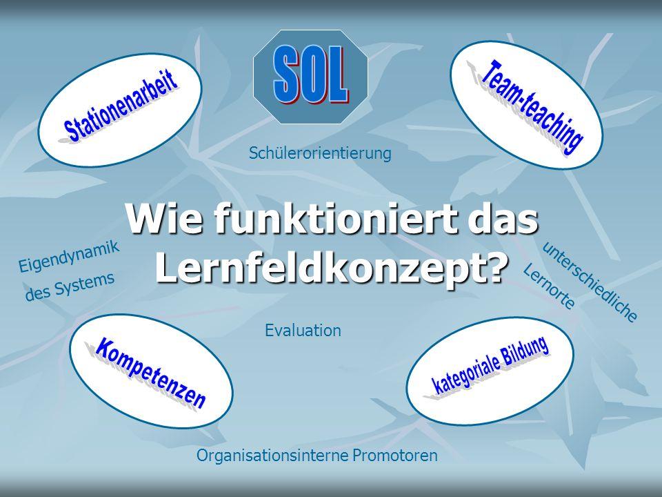 Wie funktioniert das Lernfeldkonzept? Schülerorientierung Evaluation Organisationsinterne Promotoren unterschiedliche Lernorte Eigendynamik des System