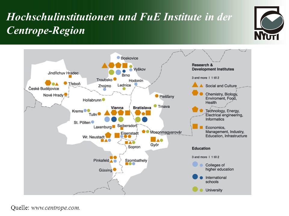 Hochschulinstitutionen und FuE Institute in der Centrope-Region Quelle: www.centrope.com.