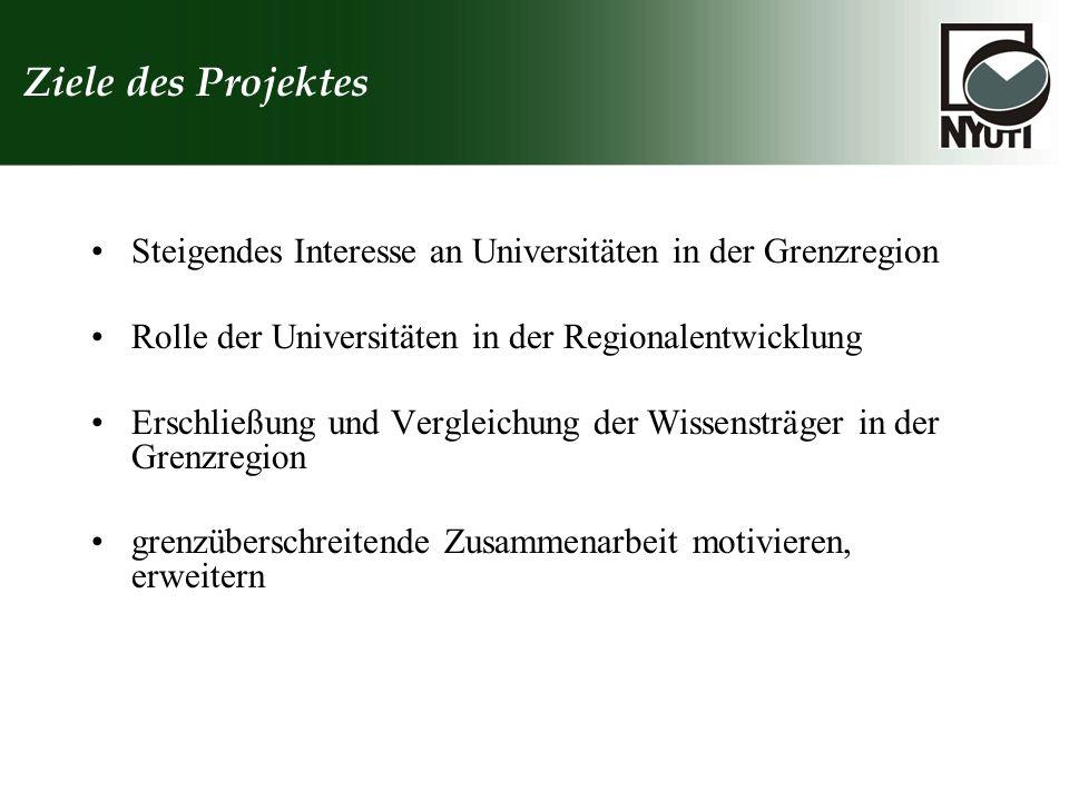 Ziele des Projektes Steigendes Interesse an Universitäten in der Grenzregion Rolle der Universitäten in der Regionalentwicklung Erschließung und Vergl