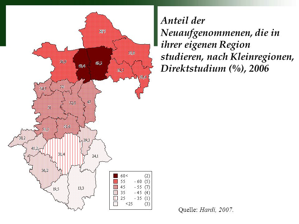 Anteil der Neuaufgenommenen, die in ihrer eigenen Region studieren, nach Kleinregionen, Direktstudium (%), 2006 Quelle: Hardi, 2007.